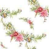Hoja y flores, modelo inconsútil de la pintura de la acuarela en el ejemplo blanco del fondo Fotografía de archivo