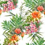 Hoja y flores, modelo inconsútil de la pintura de la acuarela en el fondo blanco Fotografía de archivo
