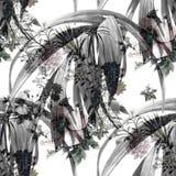 Hoja y flores, modelo inconsútil de la pintura de la acuarela en el fondo blanco Fotografía de archivo libre de regalías