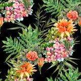 Hoja y flores, modelo inconsútil de la pintura de la acuarela en fondo oscuro Imagen de archivo