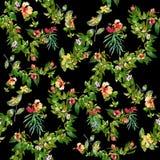 Hoja y flores, modelo inconsútil de la pintura de la acuarela en fondo oscuro Fotografía de archivo