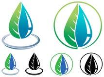 Hoja y logotipo del descenso stock de ilustración