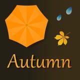 Hoja y paraguas del vector Ilustración del otoño libre illustration
