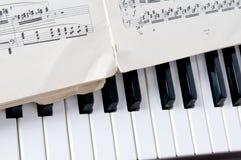 Hoja y piano de las notas musicales Foto de archivo libre de regalías