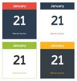 4 hojas aisladas del calendario para el día nacional del abrazo Fotografía de archivo