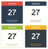 4 hojas aisladas del calendario para el holocausto internacional Remembran Fotografía de archivo