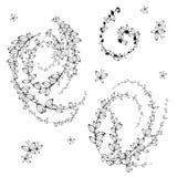 Hojas, blancos y negros ilustración del vector