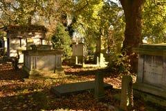 Hojas caidas cubiertas sepulcros de los mausoleos Imágenes de archivo libres de regalías