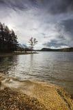 Hojas cambiantes del cielo y del abedul en el lago Pityoulish en las montañas de Escocia Foto de archivo libre de regalías
