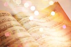 Hojas con las notas de la música, opinión del primer Imágenes de archivo libres de regalías