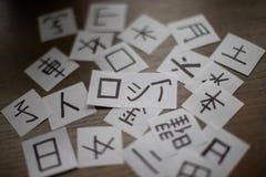 Hojas con mucho kanji de los caracteres de la lengua china y japonesa con la traducción principal de Rusia de la palabra - hombre imagenes de archivo