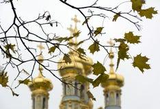 Hojas de arce amarillas, las bóvedas de oro del templo, Ch ortodoxo Foto de archivo libre de regalías