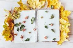 Hojas de arce amarillas y cuaderno superior con las flores secadas Imagenes de archivo