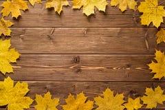 Hojas de arce del otoño en fondo de madera oscuro Fotografía de archivo