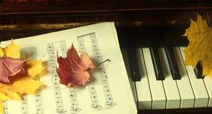 Hojas de arce en un piano Imagen de archivo