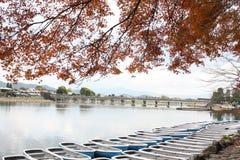 Hojas de arce rojas en el lago Foto de archivo libre de regalías