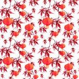 Hojas de arce rojas, linterna de papel Modelo inconsútil asiático japonés watercolor Fotos de archivo
