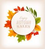 Hojas de Autumn Sales Banner With Colorful Imagenes de archivo