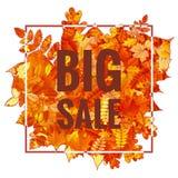 Hojas de Autumn Sales Banner With Colorful EPS 10 Imagen de archivo