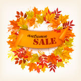 Hojas de Autumn Sales Card With Colorful Fotografía de archivo