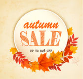 Hojas de Autumn Sales Card With Colorful Foto de archivo