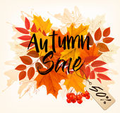 Hojas de Autumn Sales Card With Colorful Imágenes de archivo libres de regalías