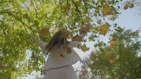 Hojas de giro y que lanzan de la muchacha modelo hermosa sonriente de otoño para arriba en el aire en un parque en la cámara lent metrajes