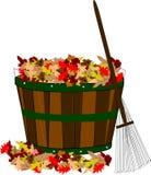 Hojas de la caída en cesta con el rastrillo stock de ilustración