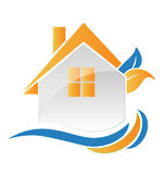 Hojas de la casa y logotipo creativo de las ondas Foto de archivo libre de regalías
