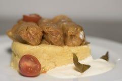 Hojas de la col rellena con polenta Foto de archivo