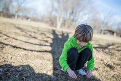 Hojas de la cosecha del niño de la tierra Imágenes de archivo libres de regalías