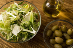 Hojas de la ensalada con las aceitunas y el aceite Foto de archivo libre de regalías