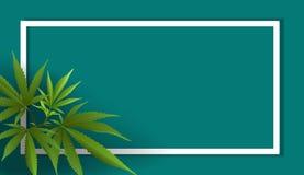 Hojas de la marijuana, cáñamo en fondos azules stock de ilustración