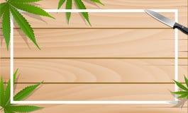 Hojas de la marijuana y cuchillos de cocina en pisos de madera stock de ilustración
