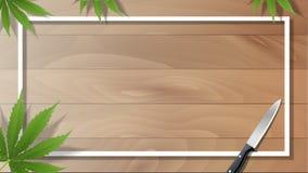 Hojas de la marijuana y cuchillos de cocina en pisos de madera ilustración del vector