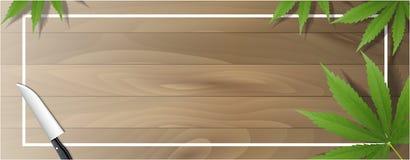 Hojas de la marijuana y cuchillos de cocina en pisos de madera libre illustration
