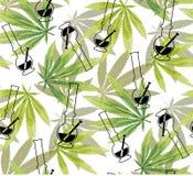 Hojas de la marijuana y modelo inconsútil de la cachimba Fotografía de archivo