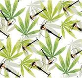 Hojas de la marijuana y modelo inconsútil de la silueta Fotografía de archivo