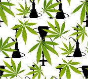 Hojas de la marijuana y modelo inconsútil de la silueta Imagen de archivo libre de regalías
