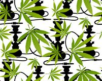 Hojas de la marijuana y modelo inconsútil de la silueta Imagenes de archivo