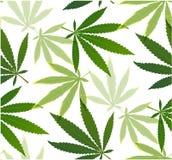 Hojas de la marijuana y modelo inconsútil de la silueta Foto de archivo