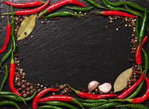 Hojas de la pimienta de chile, del grano de pimienta, del ajo y de la bahía Imágenes de archivo libres de regalías
