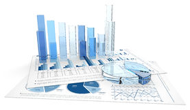 Hojas de los gráficos de negocio 3D Imagenes de archivo