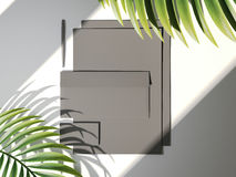 Hojas de marcado en caliente oscuras de la maqueta y de palma representación 3d Imagen de archivo