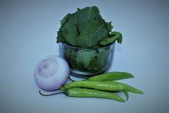 Hojas de menta y chiles verdes Imagen de archivo
