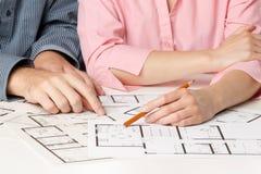 Hojas de operación (planning) de casa de la familia Imágenes de archivo libres de regalías