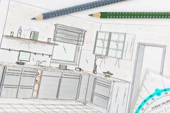 Hojas de operación (planning) de la cocina imagen de archivo libre de regalías