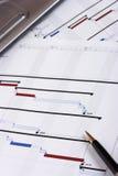 Hojas de operación (planning) de proyecto Fotografía de archivo