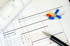 Hojas de operación (planning) de proyecto de construcción Fotografía de archivo
