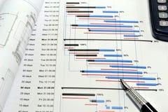 Hojas de operación (planning) de proyecto y flujo de liquidez Fotografía de archivo
